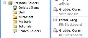 Personal Folders you created can still be seen in the Preview Pane on the left side of the screen. To move a single e-mail message from one folder (Inbox, etc.