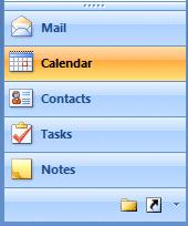 NCMail: Outlook 2007 Email User s Guide 4 If you click the left mouse button on Calendar, the Calendar will appear on the right side of the screen and the Calendar button will turn orange.