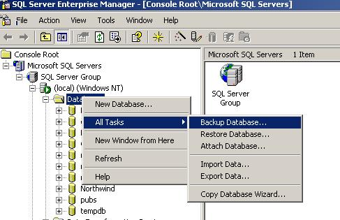 Creating a District Database Backup Creating Database Backup in SQL Server At the District Server (n which SQL is installed), pen the Enterprise Manager
