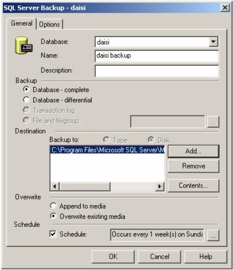 Expand Databases, right-click the database, pint t All Tasks, and then click Backup Database. In the Name bx, type the backup set name.
