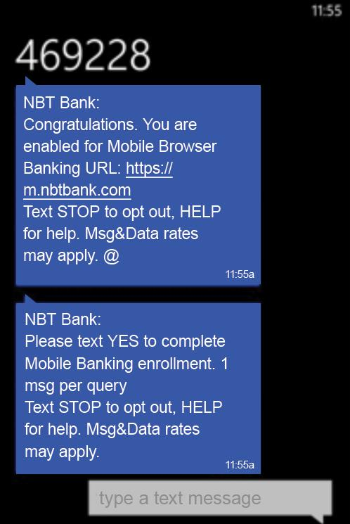 personal and business and enroll again with the first Mobile Banking service you wish to have SMS texting with.