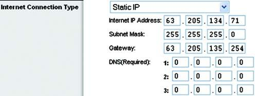 Static IP. If you are required to use a permanent IP address to connect to the Internet, select Static IP. Internet IP Address. This is the Router s IP address, when seen from the Internet.