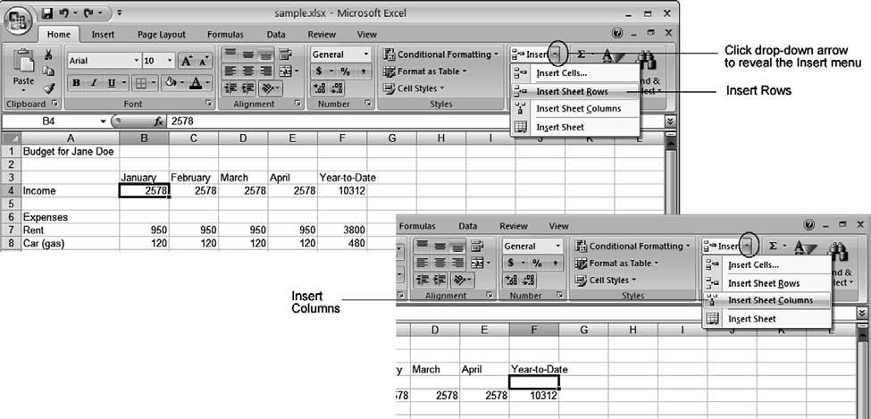 114 Computer Skills Workbook for Fluency with Information Technology, Third Edition Figure 5.20 Excel Insert Rows and Columns. Let s insert a column, and then delete it. Activate any cell in column F.