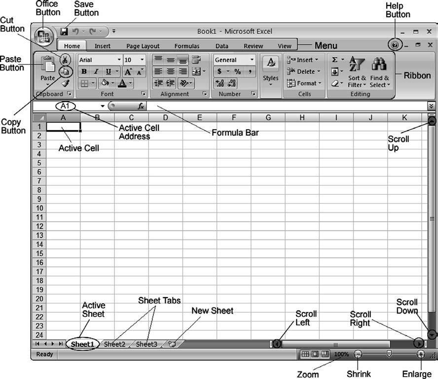 Lab 5: Spreadsheet Concepts Using Microsoft Excel 101 Figure 5.2 The Excel window. The available worksheet area is quite large. The rectangular areas are called cells.