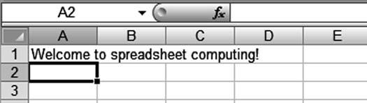 Lab 5: Spreadsheet Concepts Using Microsoft Excel 103 Press the Delete key on the keyboard. Notice that the cell entry has been erased.