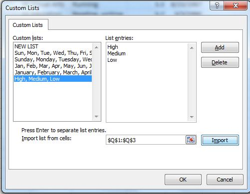e. In the Custom Lists dialog box, click