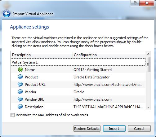 Confirm the Appliance (VM) settings and click