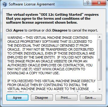 7. Click on Agree in the Software License Agreement window to start the import process.