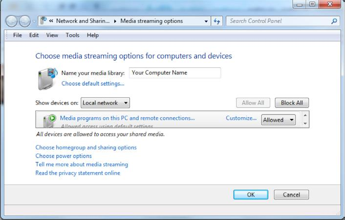 The media streaming option in this menu will read differently depending on your network setup.