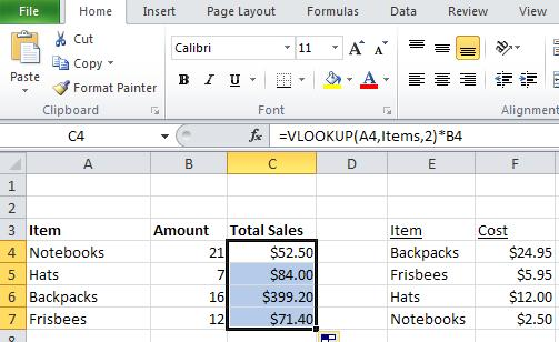 c. The column number from which the matching value should be returned is 2. d. We want to multiply the resulting value by the number of items sold, which is B4. e.