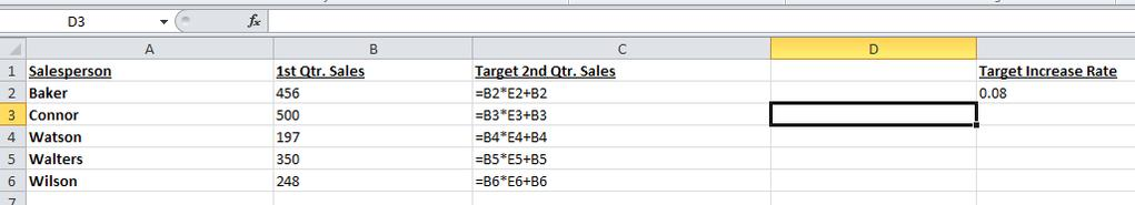 Their target sales did not increase. 4. Let s look at the formula.