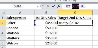 5. Excel uses dollar signs ($) to indicate absolute references.