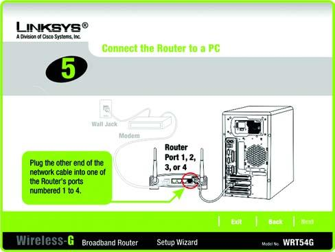 8. The Setup Wizard will ask you to connect the other end of the network cable to the Router.