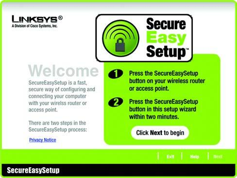 Using SecureEasySetup to Configure Your Notebook This section explains how to use SecureEasySetup if you have a computer displaying the SecureEasySetup logo.