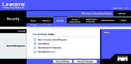 The Security Tab - Firewall Firewall Protection. This feature employs Stateful Packet Inspection (SPI) for a more detailed review of data packets entering your network environment. Block WAN Requests.