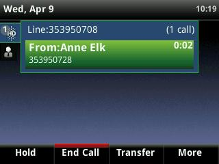 of the call From Active view you can, Hold, End Call, Transfer or select the More soft