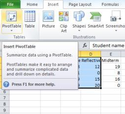 ) Pivot Tables Pivot Tables allow you to focus in on certain parts of your data to make your spreadsheet more manageable.