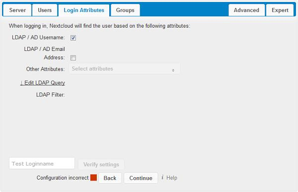 Login Filter The settings in the Login Filter tab determine which LDAP users can log in to your Nextcloud system and which attribute or attributes the provided login name is matched against (e.g. LDAP/AD username, email address).