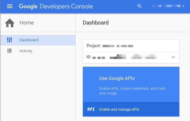 You ll be returned to your dashboard. Google helpfully highlights your next step in blue, the Use Google APIs box.