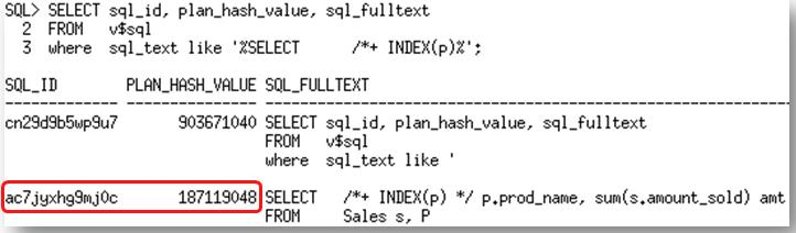4. Find the SQL_ID and PLAN_HASH_VALUE for the hinted SQL statement in the V$SQL view. 5.