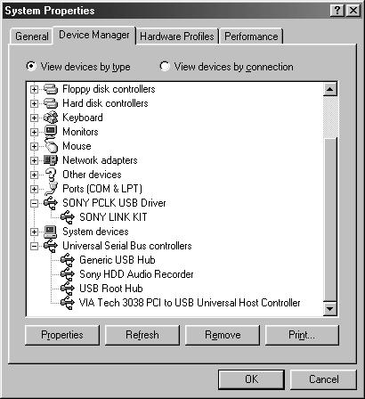 Preparation Verifying the status of the installed device Be sure to check the status of the installed devices before you start up M-crew for HAR-D1000. The following procedure is for Windows98/98SE.
