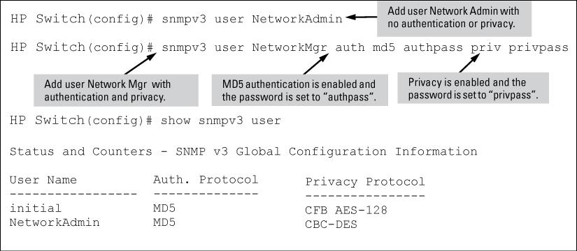 Figure 26 Adding SNMPv3 users and displaying SNMPv3 configuration SNMPv3 user commands Listing Users [no] snmpv3 user <user_name> Adds or deletes a user entry for SNMPv3.