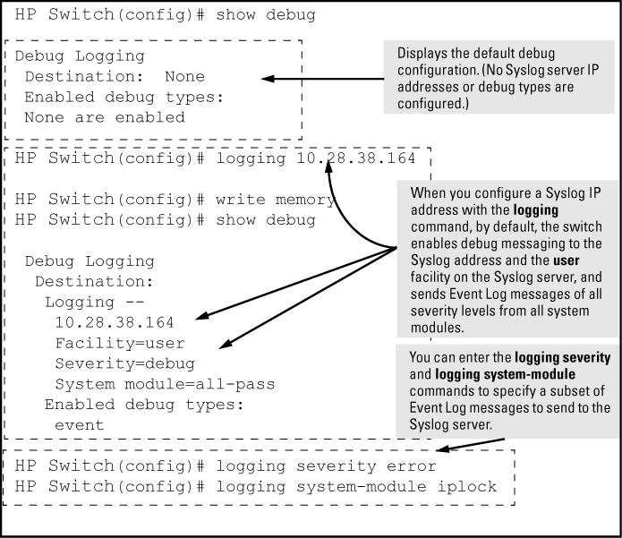 Figure 61 Syslog configuration to receive event log messages from specified system module and severity levels Example: As shown at the top of Figure 61 (page 326), if you enter the show debug command