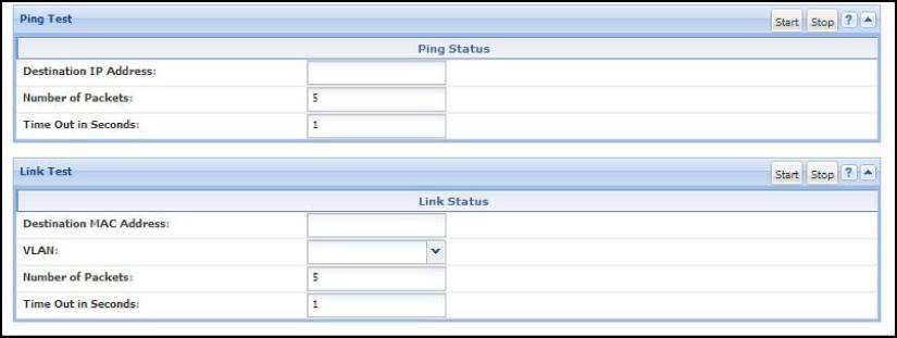 Figure 63 Ping test and link test screen on the WebAgent Destination IP Address is the network address of the target, or destination, device to which you want to test a connection with the switch.