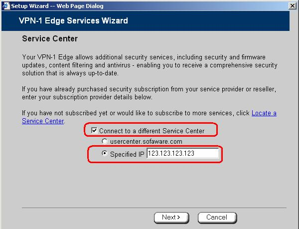 The Services Wizard opens, with the Service Center dialog box displayed. 3.