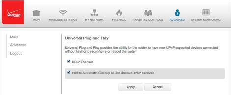 1. Select Universal Plug and Play in the Advanced page. 2. To enable UPnP and allow UPnP services to be defined on any network hosts, select the UPnP Enabled check box. 3.