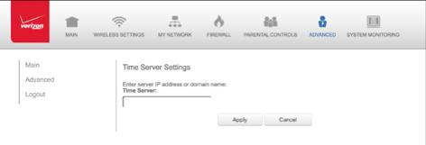 5. Enter the IP address or domain name of the time server, then click Apply to save changes. 8.