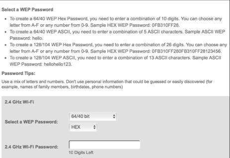 Note: Your Gateway s recommended wireless security encryption is set to WPA2. This is the factory default. This section explains how to activate WEP (Wired Equivalent Privacy) wireless security.