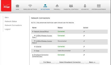 3. To view and edit the details of a specific network connection, click the hyperlinked name or the action icon. The following sections detail the types of network connections that you can view. 5.