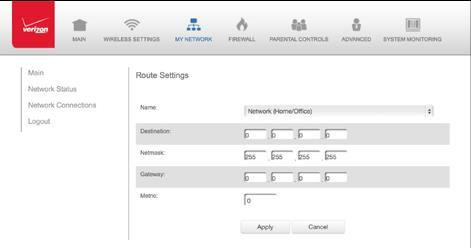reachability and status of network being traveled. To configure routing: 1. In the Routing Table section, click Add New Route to display and modify the new route configuration page.