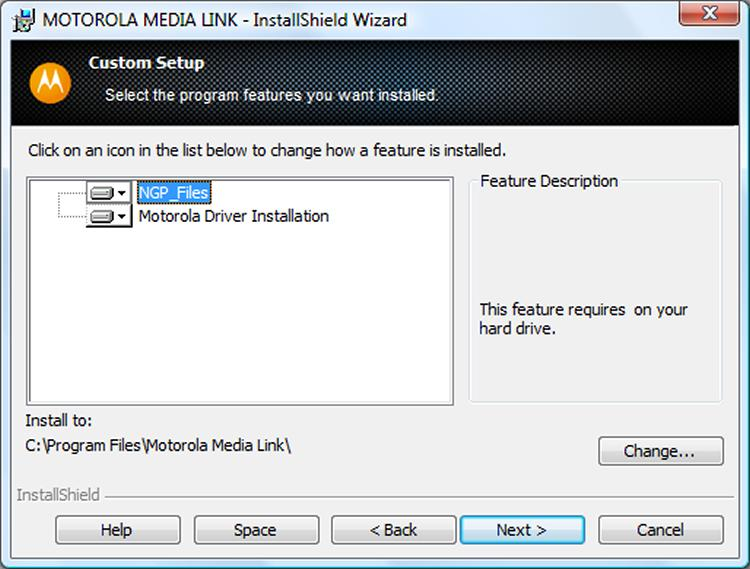 installing MOTOROLA MEDIA LINK 10. Enter the desired installation type and click the Next button. If you selected Complete, the Ready to Install the Program screen is displayed.