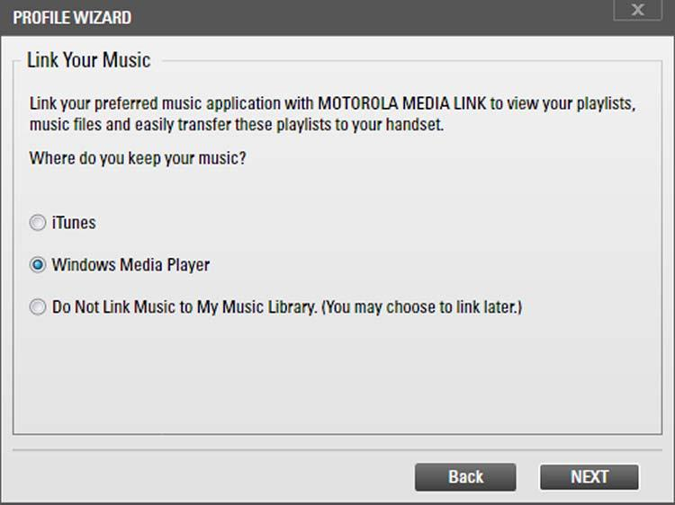 Click the Next button. The Link Your Music screen is displayed.