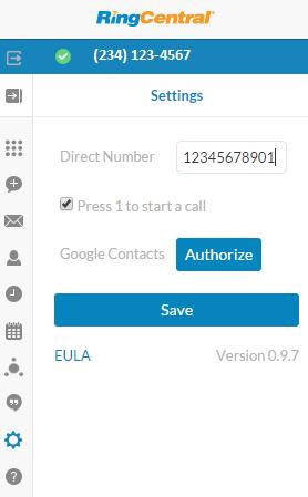 RingCentral for Google User Guide Options 11 Options You can also get to these options anytime by clicking on the gear icon in the top navigation bar. 1. Direct Number: This is the number from which outgoing calls will be made.