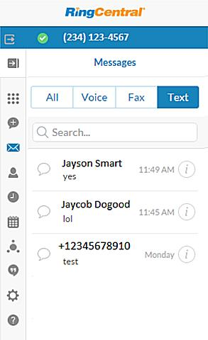 RingCentral for Google User Guide Text Message 23 Text Message When you see a list of messages, the list displays the most recent message if