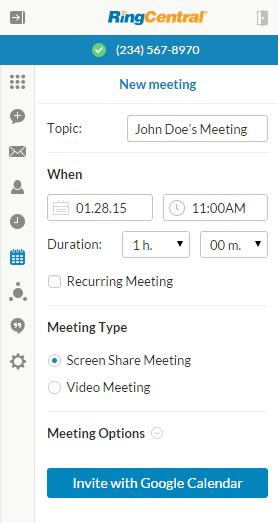 RingCentral for Google User Guide RingCentral Meeting Google Calendar Invite 32 RingCentral Meetings You can schedule a RingCentral Meeting with your Google Calendar.