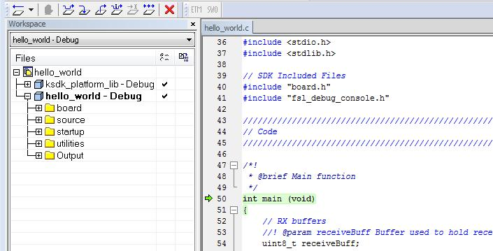 "Run a demo using Keil MDK/μVision Figure 12. Stop at main() when running debugging 6. Run the code by clicking the ""Go"" button to start the application. Figure 13. Go button 7."