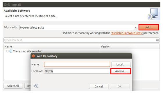 "Then, in the ""Add Repository"" dialog, select ""Archive"". Figure 33. Add repository for new software 6."