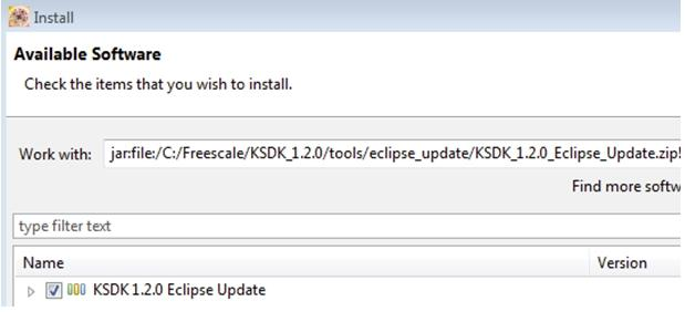 "Run a demo using Kinetis Design Studio IDE Figure 34. Select the Eclipse update 9. Check the box to the left of the KSDK Eclipse update and click the ""Next"" button in the lower right corner. 10."