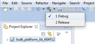 Run a demo using Kinetis Design Studio IDE Figure 38. Selection of the build target in KDS IDE The library starts building after the build target is selected.