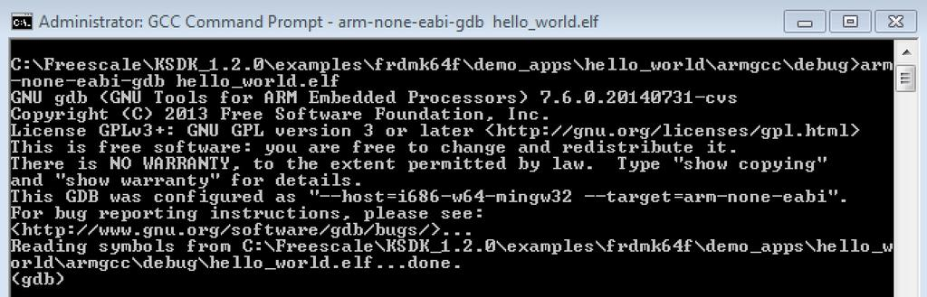 "Appendix A - How to determine COM port Figure 66. Run arm-none-eabi-gdb 9. Run these commands: a. ""target remote localhost:2331"" b. ""monitor reset"" c. ""monitor halt"" d. ""load"" e. ""monitor reset"" 10."