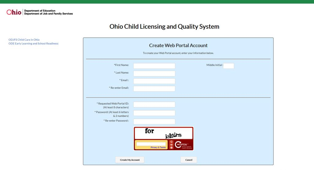 Ohio Child Licensing And Quality System Oclqs Create User