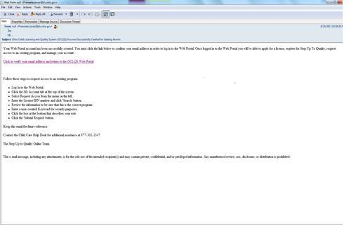 Create Web Portal User Account 1 When You Open The E Mail Confirming Your