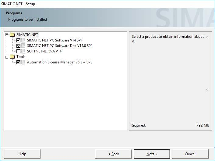 Installation of the SIMATIC NET PC software products 2.2 Procedure Description and procedure The following table describes the programs in the list box shown above.