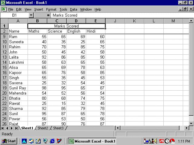 Basics of MS Excel :: 235 Fig. 12.4 Freeze panes has been added to row 2 in the image above. Notice that the row numbers skip from 3 to 8.