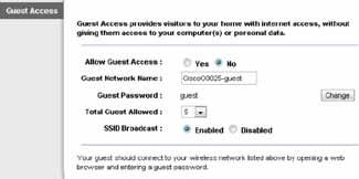 Advanced Configuration Wireless > Guest Access The Guest Access feature allows you to provide guests visiting your home with Internet access via wireless.