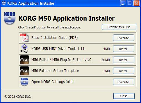 Installation Installation in Windows XP / Windows Vista To install the M50 Editor and the M50 Plug-In Editor into Windows XP or Windows Vista, proceed as follows.
